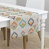 Table Runner - Diamonds Southwest Buffalo Kilim Tribal Geometric by Mrshervi - Cotton Sateen Table Runner 16 x 108