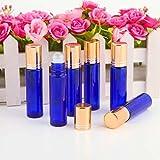 Ohuhu® Set 6pz 10ml Bottiglie a Rullo Porta Oli Essenziali o Profumo - Vetro Blu Solido (Non Verniciato), Coperchio Metallo Dorato - Utile per Aromaterapia
