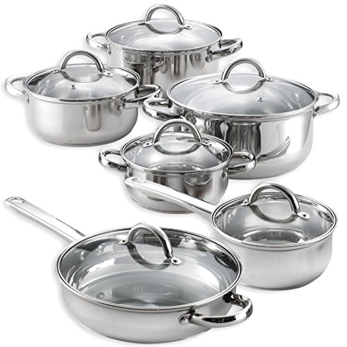 12 Pieces Cooking Pots and Pans Kitchen Stainless Steel Cookware Set Lids