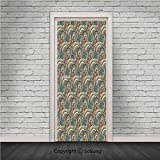 Ethnic Door Wall Mural Wallpaper Stickers,Authentic Pattern in Contrast Vivid Tones Mystical Icons Image Decorative,Vinyl Removable 3D Decals 30.4x78.7/2pcs set,for Home Decor Avocado Green and Petrol