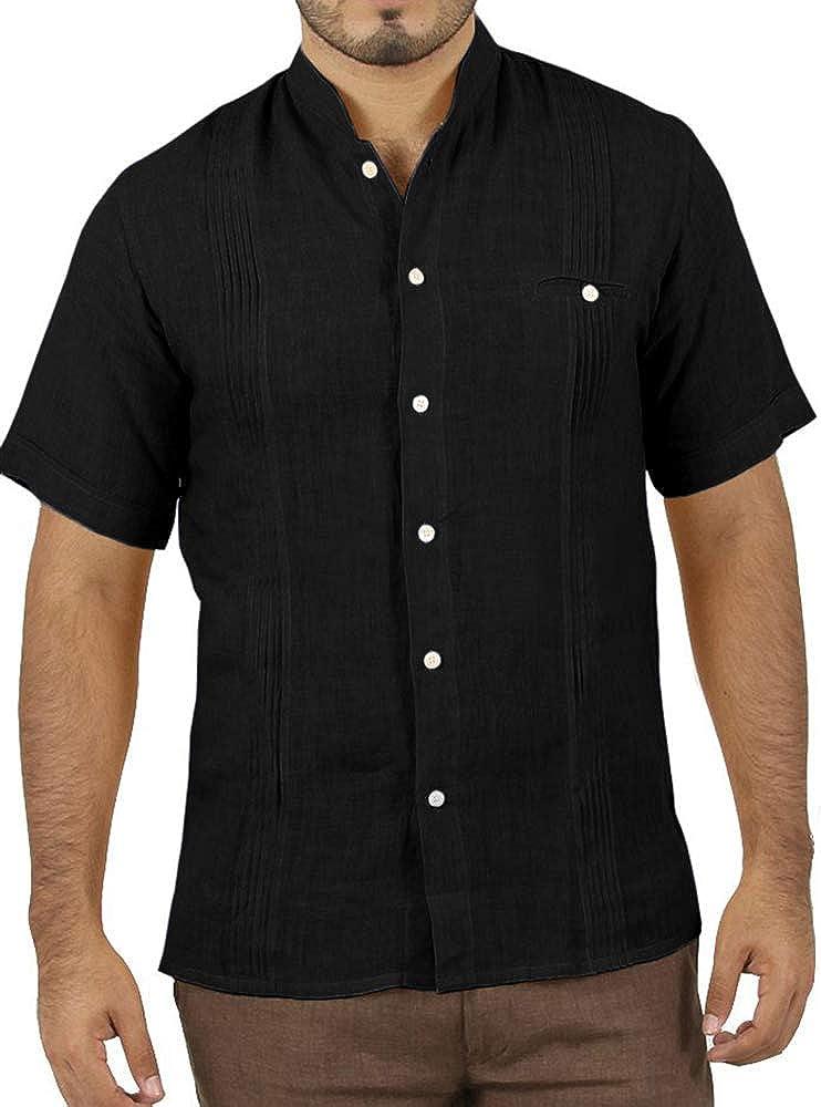 Enjoybuy Camisa de Manga Corta para Hombre, Estilo Cubano, Estilo Guayabera, de Lino, Casual, con Botones, Holgada, para Playa