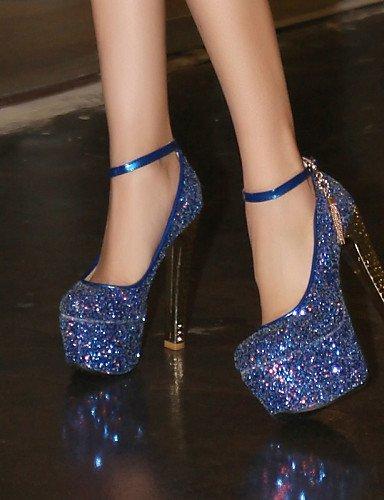 Weiß Kunstleder Rosa Hochzeit Kleid Absätze Rundeschuh ShangYi Blue Heels Blau Blockabsatz High Damenschuhe Lässig Schuh UF4RSF