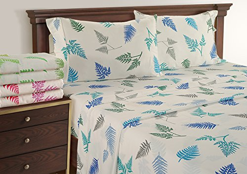 Amazon Black Friday Deals 2017 - Cal King Size Cotton Sheets - Colorful Fern Pattern - Soft like 1500 Supima Cotton - Sateen Weave - Blue/Grey, Cal King