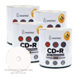 Smart Buy CD-R 400 Pack 700mb 52x Thermal Printable White Blank Recordable Discs, 400 Disc, 400pk