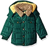 London Fog Red Hooded Bubble Jacket with Teddy Faux Fur...