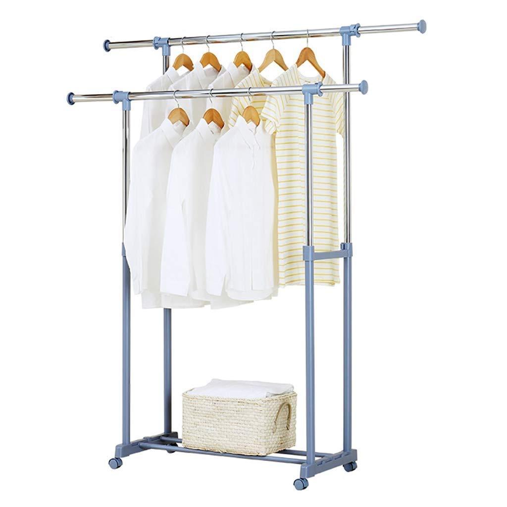 取り外し可能な衣類乾燥ラックは高さ調節可能な衣類ポール2吊りロッド床乾燥ラックステンレス鋼寝室ハンガーを伸ばすことができます B07RLSNZNS