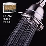 Hotelspa 6 Setting Shower Head AquaCare By HotelSpa Filtered Shower Head 5 Inch Face 6 Setting Showerhead with 3 Stage Shower Filter Cartridge Inside. (Brushed Nickel Finish)
