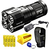 Nitecore Tiny Monster TM28 6000 Lumens 716 Yards Super Bright Rechargeable LED Flashlight w/ 8x Nitecore IMR 18650s, Nitecore NBM40 Battery Magazine and Lumen Tactical Keychain Light