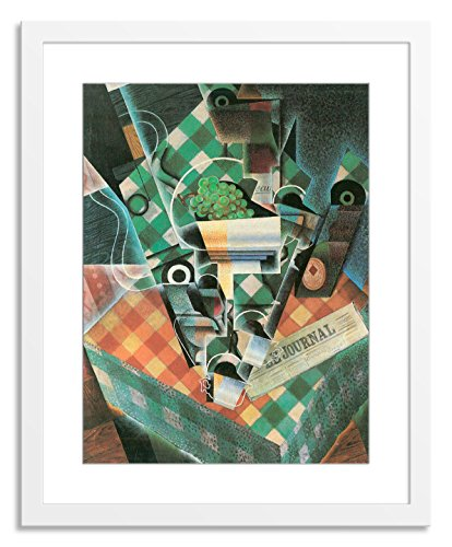 Gallery Direct Still Life with Checked Tablecloth Artwork on Paper, Wood by Juan Gris with White, Clean and Simple Frame, 36