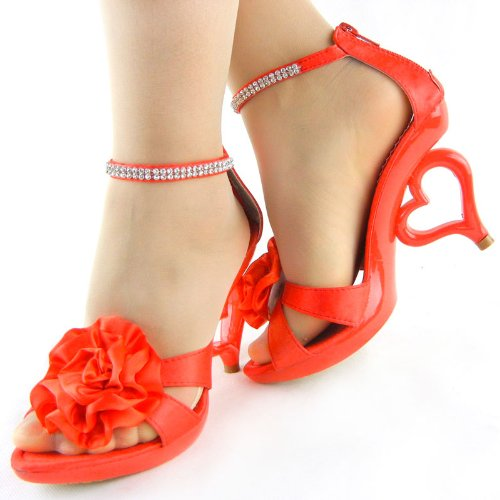 Heels Show Red Wedding Sandals Strap Heart Story SM33101 Strappy Bride Ankle Dancing qrCRqw8