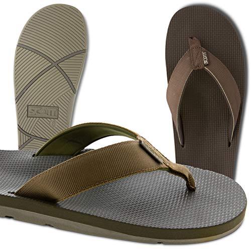 - Scott Hawaii Men's Makaha Sandals | Size 11 Brown Flip-Flops | Neoprene Lining | No Slip Outsole