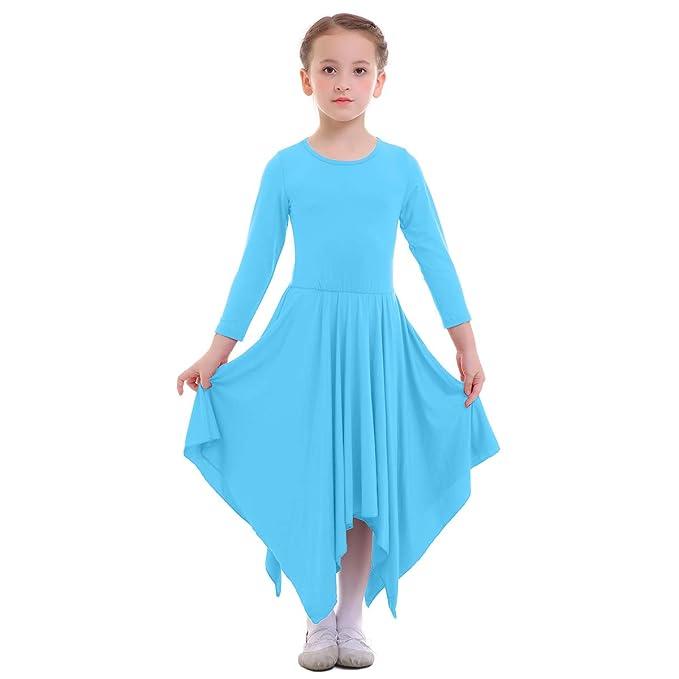 Vestidos para Danza Cristiana Maillot Adulto con Falda Larga para Mujer Niñas Chica Disfraz Bailarina Actuación Fiesta Invierno Otoño Manga Larga Litúrgico ...