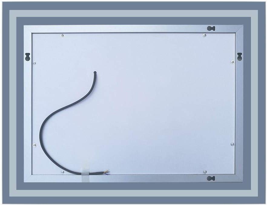 AICA SANITARIOS 70x50cm Espejo de para ba/ño led Anti-Niebla Horizontal Interruptor de Sensor de un Toque
