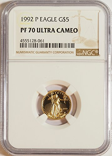 1992 P Certified Proof American Gold Eagle $5 PF70 NGC
