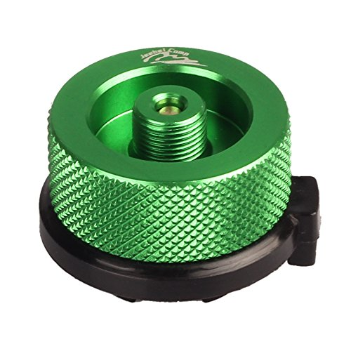 Jeebel Camp Gas Converter,for Butane Canister to Screw Gas Cartridge/Lindal Type Valve Adapter (green)