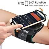 Running Armband, Wallfire 360° Rotatable Sports Phone Armband for iPhone X/8 Plus/8/7/6s, Galaxy S9 Plus/S9/S8/S7 & Other 4''- 6.5'' Smartphone, with Key Holder for Hiking Biking Walking Jogging (Black)
