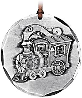 "product image for Wendell August Forge All Aboard Train Christmas Ornament, 2.25"" Round–Timeless Hand-Hammered Aluminum Holiday Ornament Features Iconic Christmas Train–Makes a Great Gift -Made in The USA"