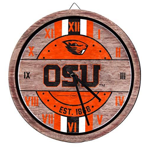 FOCO NCAA Oregon State Beavers Team Logo Wood Barrel Wall ClockTeam Logo Wood Barrel Wall Clock, Team Color, One ()