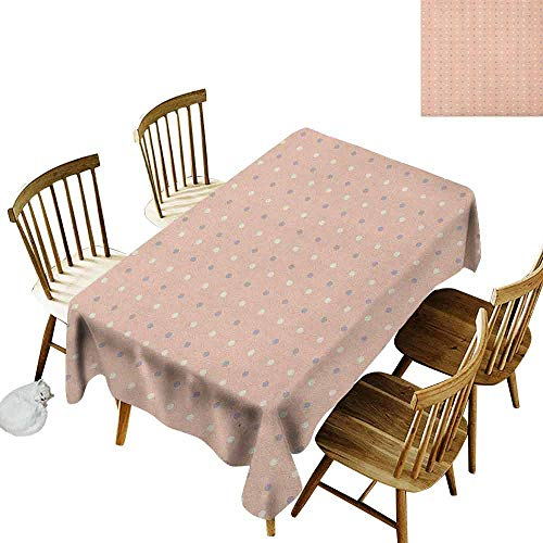 DONEECKL Pink dust-Proof Tablecloth Daily use Romantic Vintage Classic in 50s 60s Style Image with Dots Pattern Print Salmon Lilac and White W60 xL102