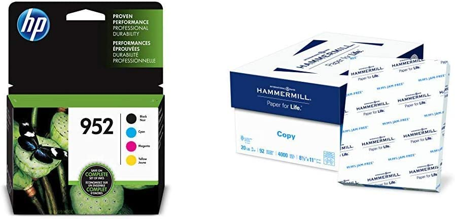 HP 952   4 Ink Cartridges   Black, Cyan, Magenta, Yellow & Hammermill Paper, Copy Paper, 8.5 x 11 Paper, Letter Size, 20lb Paper, 92 Bright, 8 Ream Case / 4,000 Sheets (113640C) Acid Free Paper