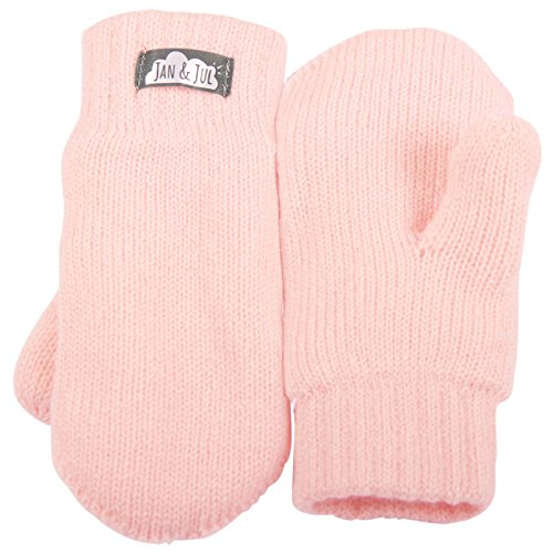 Toddler kids warm fleece lined knit mittens with thumb for fall winter (Mitten M: 9-36m, Pale Pink)