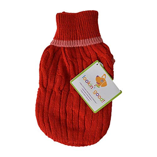 Fashion Pet Cable Knit Dog Sweater - Red (8 Pack)