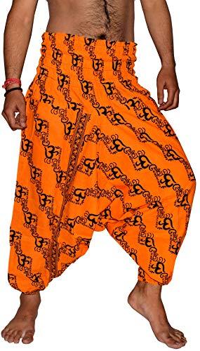 Kiara Men's Cotton Harem Hippie Yoga Baggy Genie Boho Drop Crotch Pants - New Om Print (Yellow)]()