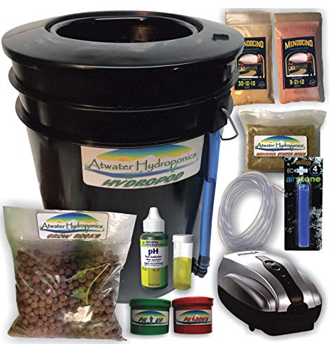 The Atwater HydroPod - Standard A/C Powered DWC Deep Water Culture/Recirculating Drip Hydroponic Garden System Kit - Bubble Bucket - Bubbleponics - Grow Your Own! Start Today! (Best Nutrients For Dwc System)