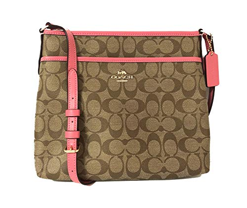 Coach Signature Zip File Crossbody Bag (IM/Khaki/Pink Ruby)
