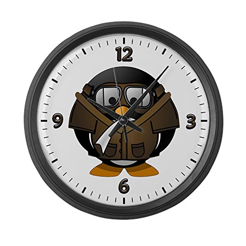 (Large Wall Clock Little Round Penguin - Airplane Jet)
