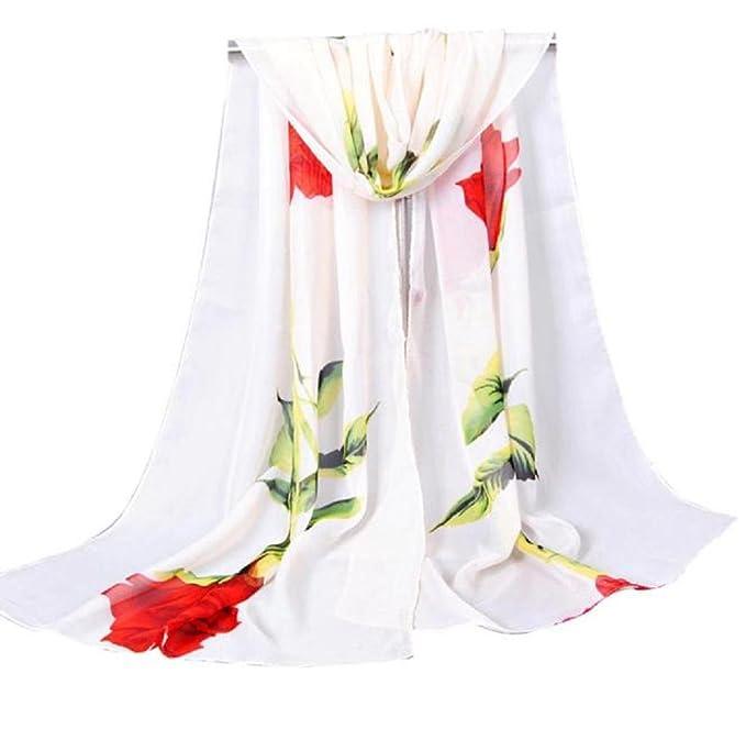 iHPH7 Lightweight Scarves, Women Rose Long Soft Wrap Ladies Shawl Chiffon Scarf at Amazon Womens Clothing store: