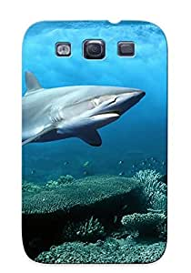 Galaxy S3 Case Cover - Slim Fit Tpu Protector Shock Absorbent Case (shark )
