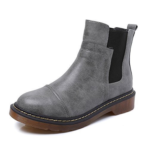 Smilun Kids's Ankle Chelsea Boots Flats Low heel with Block Western Chunky Heel Chelsea Boots for Kids Grey US6 (Leather Fine Boot Flat)