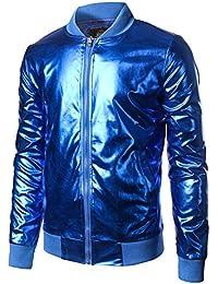dfb5dce5138e Mens Metallic Nightclub Styles Zip Up Varsity Baseball Bomber Jacket