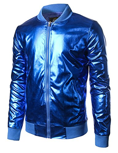 JOGAL Men's Metallic Nightclub Styles Zip Up Baseball Bomber Jacket Large Blue -