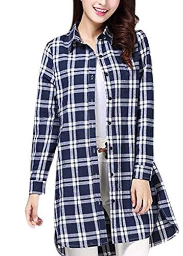 Femme Base pour en Manches Chemise de Bleu Coton Huateng Blanc Longues W8nBYwaxq