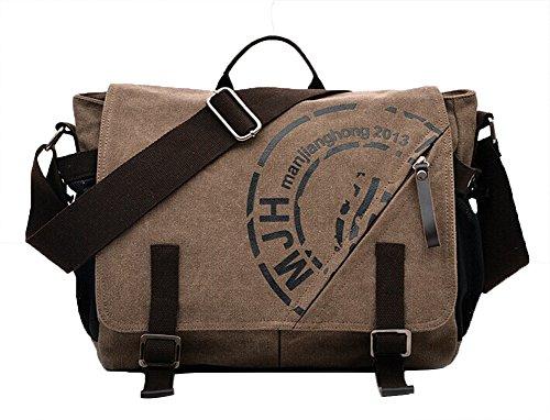 Genda 2Archer Lienzo Multifunción Bolso de Crossbody del Hombro Messenger Bag con Side Pockets MJH-1146 (Caqui) café