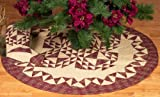 Colonial Patches Burgundy Quilted Christmas Tree Skirt 48 Inches Round 100% Cotton Handmade Hand Quilted Heirloom Quality