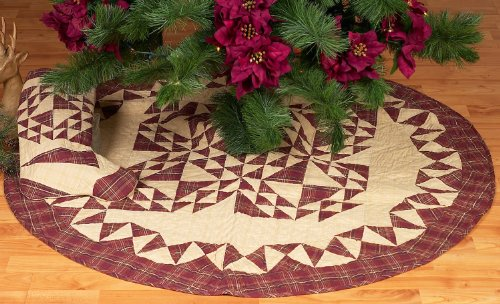 Colonial Patches Burgundy Quilted Christmas Tree Skirt 48 Inches Round 100% Cotton Handmade Hand Quilted Heirloom Quality by Choices Quilts