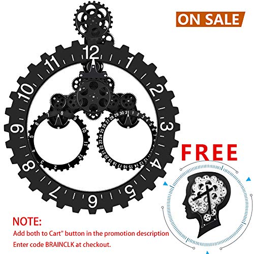 SevenUp Gear Clock Wall-Premium Plastic and Metal Parts Material, Best 3D Moving Gear Clock Wall, 26