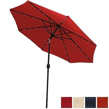 High Quality Sunnydaze 9 Foot Solar Powered LED Aluminum Patio Umbrella With Tilt U0026  Crank, Red