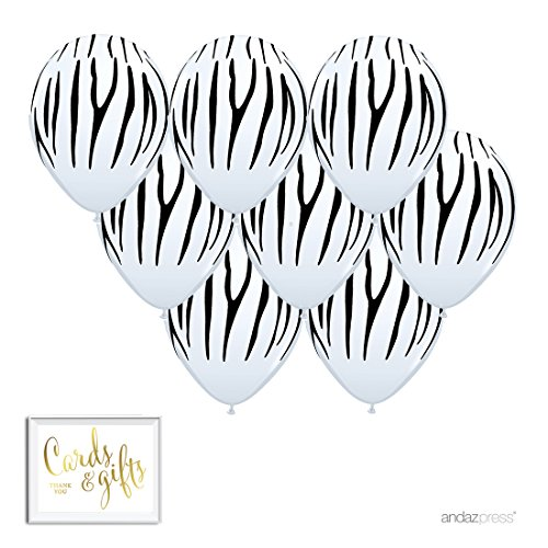 Andaz Press Printed Latex Balloon Party Kit with Gold Cards & Gifts Sign, Zebra Stripes, 8-Pk, Jungle Safari Baby Shower Birthday Decorations -
