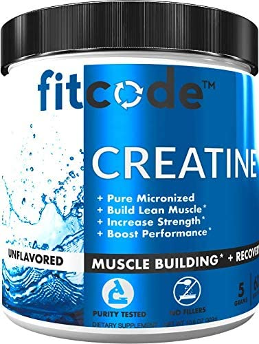 Fitcode Creatine Monohydrate 5 Grams of Pure micronized creatine monohydrate for Muscle Building, Recovery Strength Stamina, unflavored Powder 60 Servings