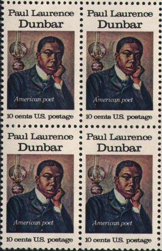PAUL LAURENCE DUNBAR ~ POET ~ BLACK HERITAGE #1554 Block of 4 x 10 cents US Postage Stamps