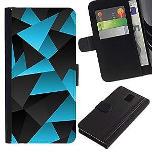 KingStore / Leather Etui en cuir / Samsung Galaxy Note 3 III / Gris Lignes Motif carbone