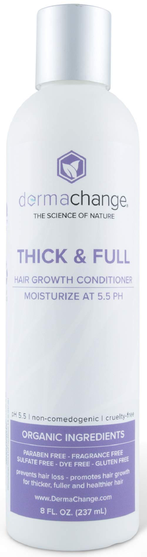 Hair Growth Organic Conditioner - Hair loss treatments - With Anti Dandruff Formula - Prevents Dry Frizzy Hair - Sulfate, Paraben & Gluten Free - For Women and Men (8 oz) - Made in USA by DermaChange