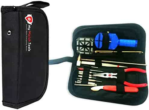 Olten Watch Repair Kit with Instructions and Spring Bar,Pin,Battery,Strap,Link Removal Tool,Carry Case