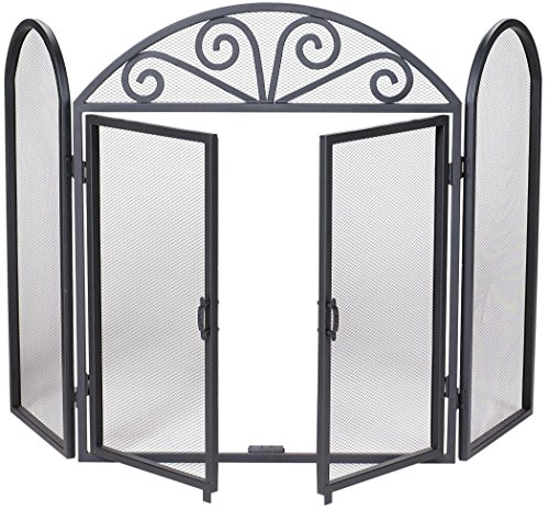 UniFlame 3-Fold Black Wrought Iron Screen with Scrolls by Uniflame