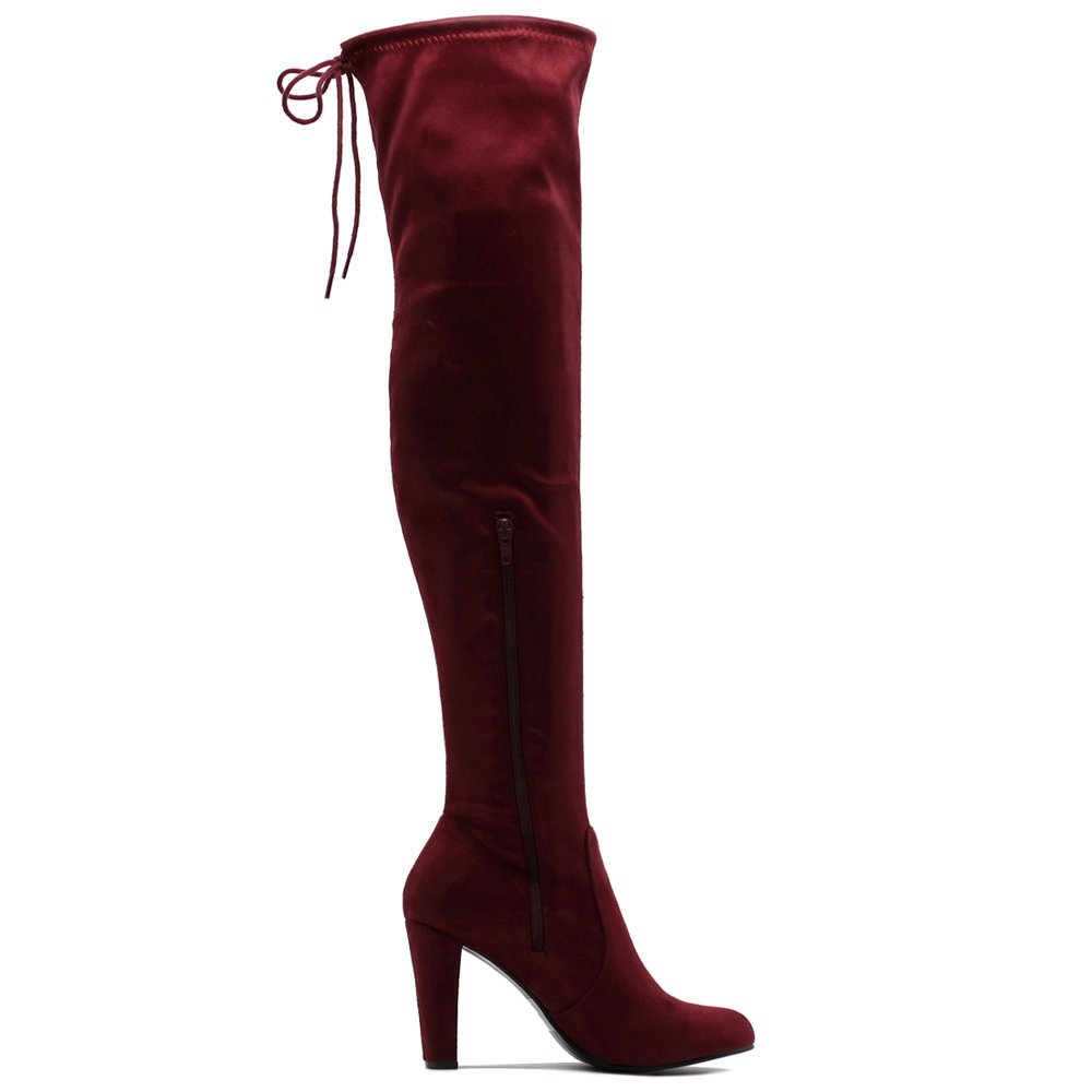 Ollio Women Shoe Drawstring Stretch Faux Suede Zip Up Over The Knee Long Boots