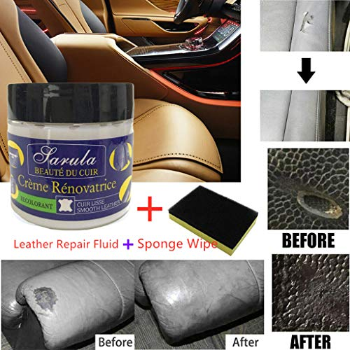 Leather Restoration Cream, Tuscom Leather Vinyl Repair Kit Leather Refurbishing Cleaner Leather Recoloring Balm Renew Restore Repair Tool for Auto Car Seat Sofa Scratch Cracks Rips Liquid (a Set) (Best Leather Restoration Products)